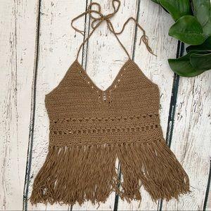 Forever 21 Crochet Brown Fringe Boho Crop Top M